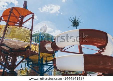 Children's water park at the resort  travel recreation background #1444541639
