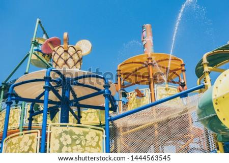 Children's water park at the resort  travel recreation background #1444563545