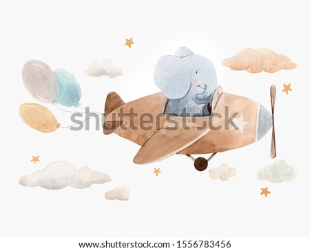 Children's watercolor cute illustration, Funny elephant in flies in a brown plane, balloons, clouds and stars. Baby print on an isolated background