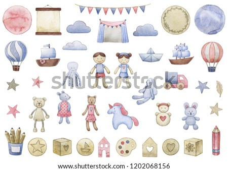 Children's watercolor set with toys. Dolls, cubes, houses, wooden toys, octopus, toys for maltchik, toys for girls, balloon, clouds, tent, flags, background, frames, bear, bunny, cat, boat.