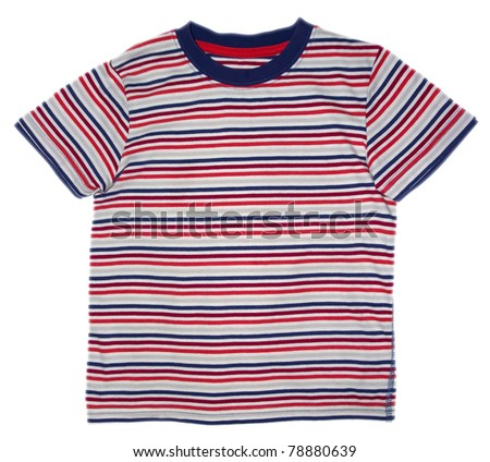 Children's wear - striped shirt isolated over white background. Clipping path included.