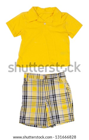 Children's wear - T-shirt and shirt isolated over white background