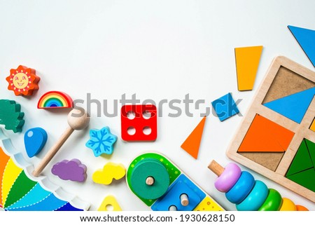 Children's wooden toy. Sorter on a white isolated background.. Educational logic toys for children. Montessori Games for child development. Сток-фото ©