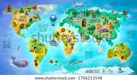 children's world map with mainland fauna