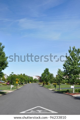 Children School Crossing Traffic Sign on street of beautiful quiet suburban residential neighborhood on spring blue sky day