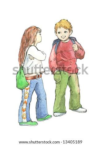 children, schoolboy and schoolgirl. - stock photo