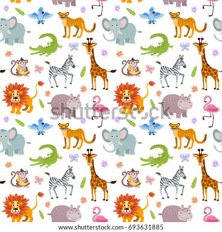 Children seamless wallpaper with cute and funny baby savanna animals elephant, alligator and hippo, illustration of africa animals