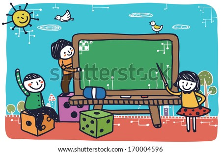 Children sitting and standing on dice blocks while another child points to a giant chalkboard.