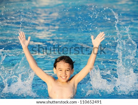 Children splashing in water enjoying at summertime