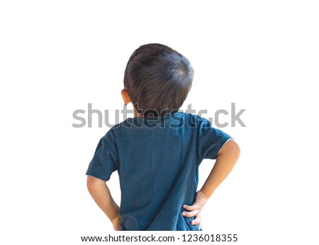 children standing backwards and looking up ,rear cute boy looking up and interested something , isolated on white background.