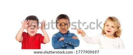 Children taunting classmatering isolated on a white background Stock photo ©