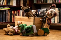 Children toys in a wooden box, books in the background on wooden floor. Teddy bear, wooden dog toy, rag doll, toy car, wooden green frog