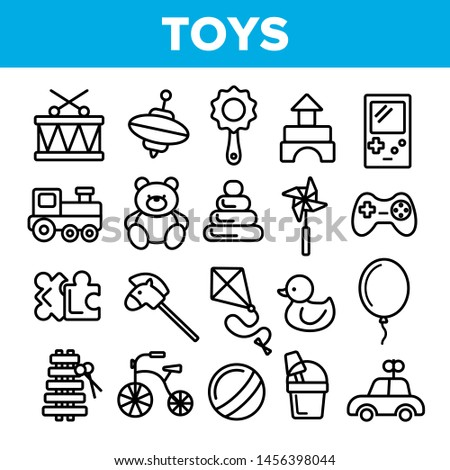 Children Toys Linear Icons Set. Toys Thin Line Contour Symbols Pack. Kids Entertainment Pictograms Collection. Baubles, Playthings. Plush Teddy Bear, Car, Ball, Puzzle Outline Illustrations ストックフォト ©