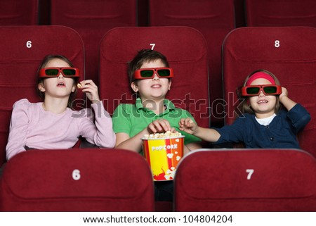 Children watching a  movie at the 3D cinema
