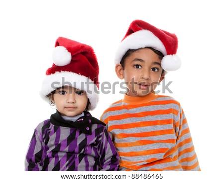 Children Wearing Santa Hats, Isolated, White