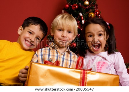 Children with christmas gift
