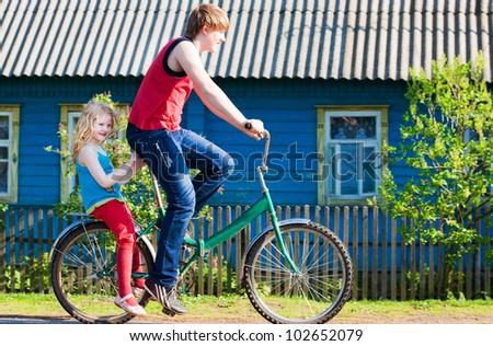 children with their bikes