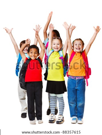 Children with their hands up, isolated