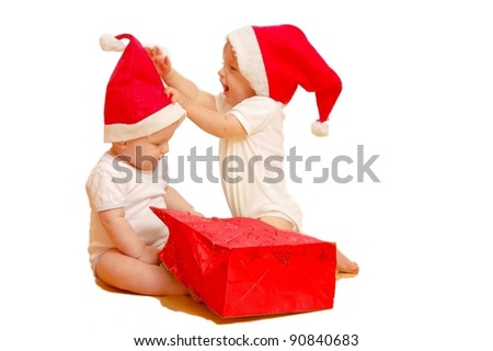 Children with x-mas presents