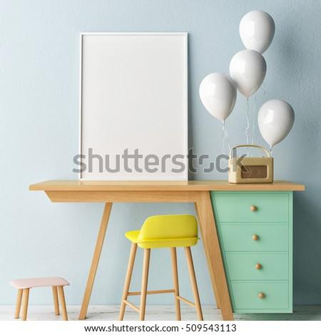Children working room,,  Empty poster, 3d illustration