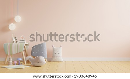 Children working room,Mock up wall in the children's room in light cream color wall background,3d rendering