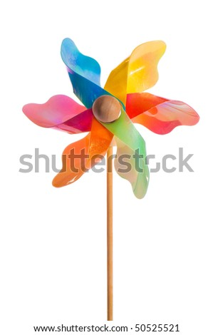 Childrens colorful windmill toy isolated on white background