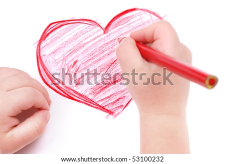 Childrens hand with pencil draws the heart, isolated