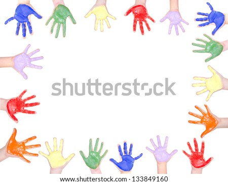Childrens hands painted in rainbow colors for a frame isolated on white background
