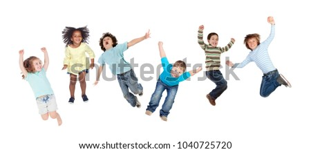 Childrens jumping toguether isolated on a white background #1040725720