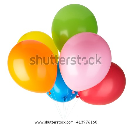 Stock Photo Childrens party colorful balloons isolated on white background