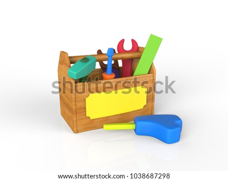 Childrens play toolkit with work tools isolated on white. 3D image