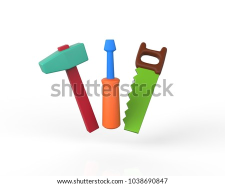 Childrens play toolkit with work tools isolated on white. Hammer, saw, screwdriver. 3d image