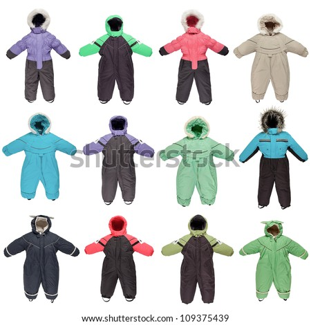 Childrens snowsuit fall and winter clothes on a white background