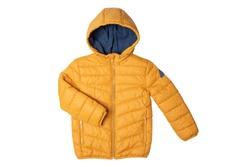 Childrens winter jacket. Stylish childrens yellow warm down jacket isolated on white background. Winter fashion.