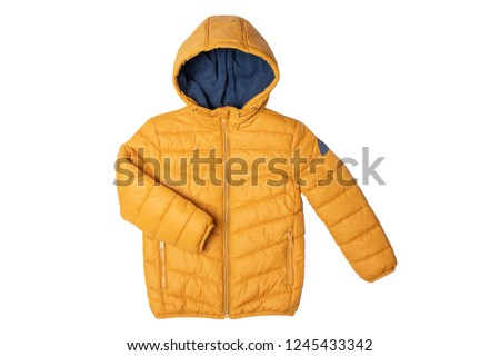 Childrens winter jacket. Stylish childrens yellow warm down jacket isolated on white background. Winter fashion. Foto d'archivio ©
