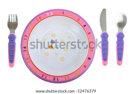 Childs food plate with cutlery isolated on white