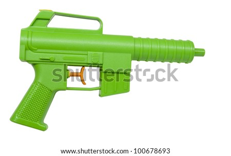 childs plastic water pistol isolated on white