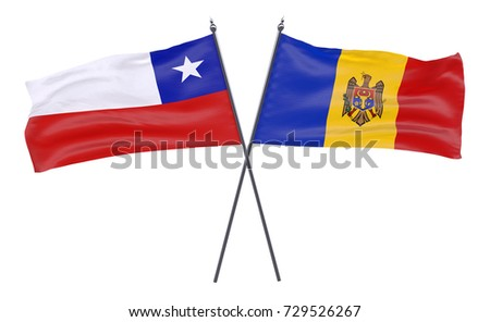 Chile and Moldova, two crossed flags isolated on white background. 3d image