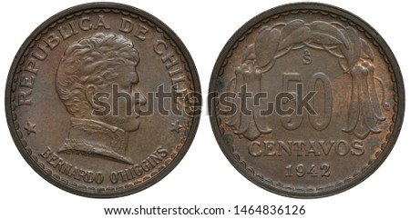 Chile Chilean coin 50 fifty centavos 1942, uniformed bust of Chilean independence leader Bernardo O'Higgins right, denomination and date below flower composition,
