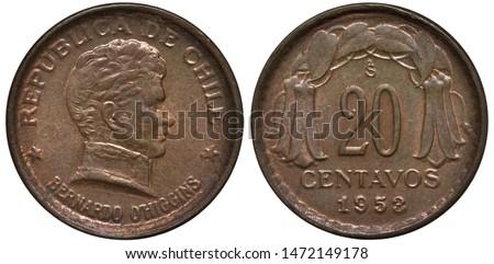 Chile Chilean coin 20 twenty centavos 1953, uniformed bust of Chilean independence leader Bernardo O'Higgins right, denomination and date below flower composition,