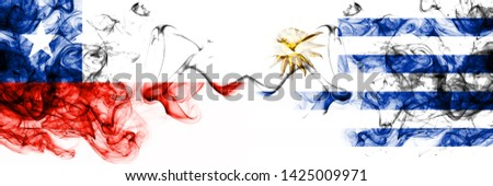 Chile, Chilean, Uruguay, Uruguayan, competition thick colorful smoky flags. America football group stage qualifications match games