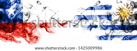 Chile, Chilean, Uruguay, Uruguayan, flip, competition thick colorful smoky flags. America football group stage qualifications match games
