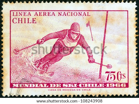 "CHILE - CIRCA 1966: A stamp printed in Chile from the ""World Skiing Championships - Chile 1966"" issue shows Skier in slalom race, circa 1966."