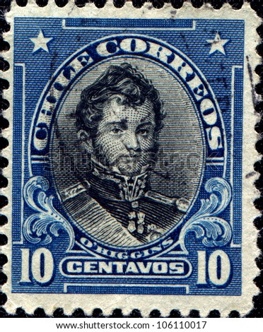 CHILE - CIRCA 1911: A stamp printed in Chile shows Bernardo O'Higgins - Chilean independence leader, circa 1911
