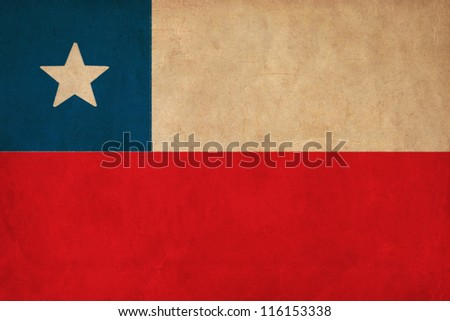 Chile flag drawing ,grunge and retro flag series