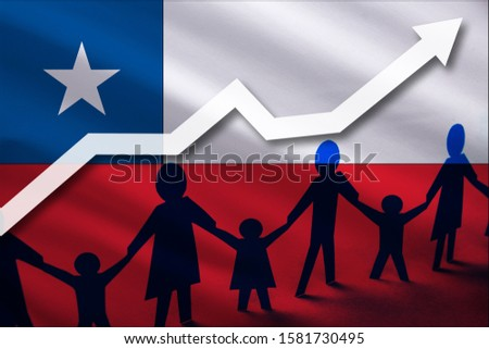 Chile flag on a background of a growing arrow up and people with children holding hands. Demographic growth of the country, tourists, refugees, immigrants