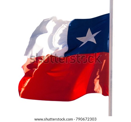 Chilean flag waving against white background #790672303
