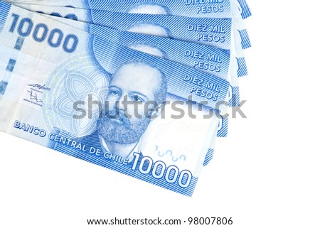 Chilean Pesos Isolated on White