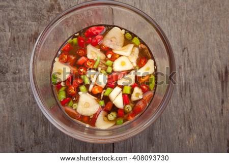 Chili and fish sauce , thai food