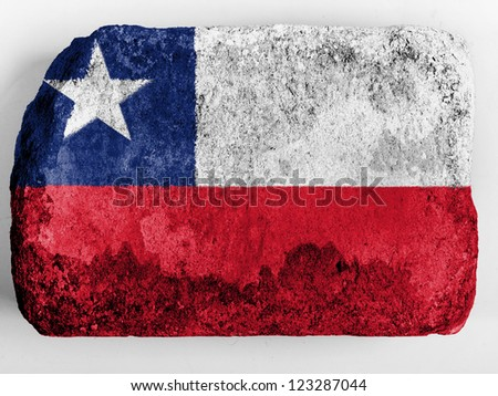 Chili. Chile flag  painted on brick